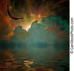 독수리, 비행중에, 억압되어, 기이한, 하늘