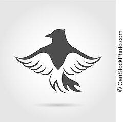 독수리, 상징, 백색, 고립된, 배경