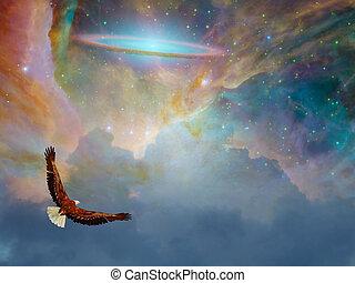 독수리, 에서, 공상, 비행