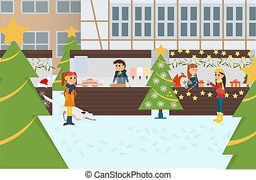 독일어, 전통적인, 크리스마스, market.