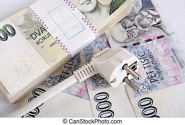 돈, 개념, 의, 비싸다, 에너지, 계산서