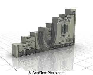 돈, 그래프, 솟는, 현금, 직물, 백색 위에서, 배경