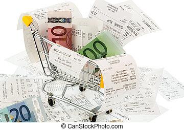 돈, 손수레, 쇼핑, 은 영수증을 끊는다
