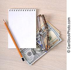 돈, 종이, 사업, 배경