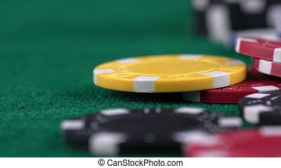 돈, 칩, 통하고 있는, 노름하는, 테이블