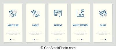 돈, 흐름, 청구서, 지불, 시장 조사, 지갑, 수직선, 카드, 와, 강한, metaphors.