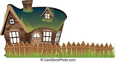돌 집, 와, 잔디, 지붕