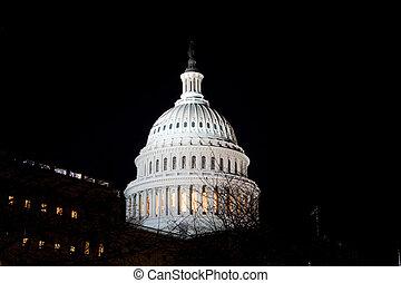 돔, 미국 미 국회의사당, 건물, 밤, 워싱톤 피해 통제, 미국