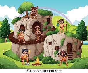동굴, 사람, 생존, 에서, 그만큼, 돌 집