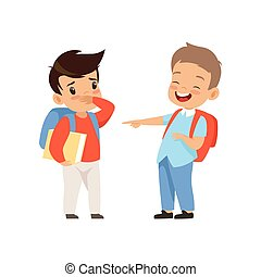 동급생, 비웃는 것, 와..., 손으로 가리키는 것, 소년, 나쁜 행동, 충돌, 사이의, 키드 구두, 조롱,...