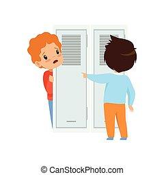 동급생, 비웃는 것, a, 소년, 그리고 그 사람은, 뒤에 숨기는, 그만큼, 문, 나쁜 행동, 충돌,...