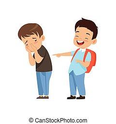 동급생, 웃음, 와..., 손으로 가리키는 것, 슬픈, 소년, 나쁜 행동, 충돌, 사이의, 키드 구두,...