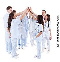 동기를 주게 된다, 그룹, 의사, 간호사, 큰