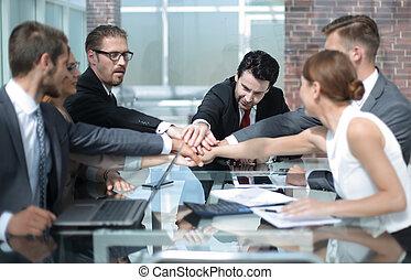 동료, 사업, 일하는 사무실, 함께, 손을 잡는 것