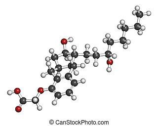 동맥의, molecule., 약, treprostinil, 고혈압, 폐의, synt
