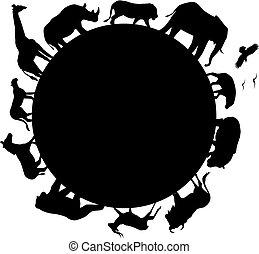 동물, 아프리카, 실루엣