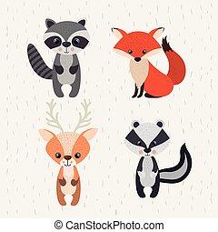 동물, 야생 생물, 세트, 삼림지, 아이콘