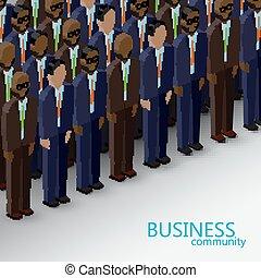 동일 크기다, 사업, commun, 삽화, 벡터, 정치, 또는, 3차원