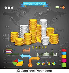 동전, 막대 그래프, 사업, infograph