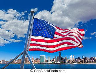 동쪽, 명란한, 지평선, 요크, 새로운, nyc, 강, 맨해튼