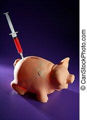 돼지 저금통, 와, 주사기, 재정, 은유
