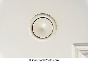 둥근, 공기, 환기, 구조, 백색 위에서, 천장