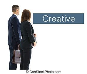 뒤의 보기, 의, a, 그룹, 의, 사업, team., 고립된, 백색 위에서, 배경.