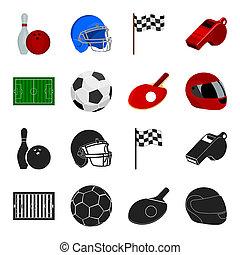 들판, 경기장, 와, 채점, 치고는, 축구를 경기하는, 축구 공, 라켓, 와, a, 공, 치고는, 탁구, 보호하는 것, 헬멧, 치고는, 그만큼, 게임, 치고는, 야구, 또는, rugby., 스포츠, 세트, 수집, 아이콘, 에서, 검정, 스타일, 두값본, 상징, 주식 일러스트, web.