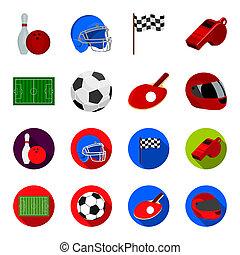 들판, 경기장, 와, 채점, 치고는, 축구를 경기하는, 축구 공, 라켓, 와, a, 공, 치고는, 탁구, 보호하는 것, 헬멧, 치고는, 그만큼, 게임, 치고는, 야구, 또는, rugby., 스포츠, 세트, 수집, 아이콘, 에서, 만화, 스타일, 두값본, 상징, 주식 일러스트, web.