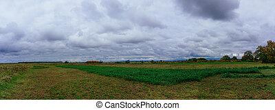 들판, 위의, 대초원, 구름, 폭풍우