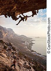 등산가, 그리스, 일몰, kalymnos, 바위