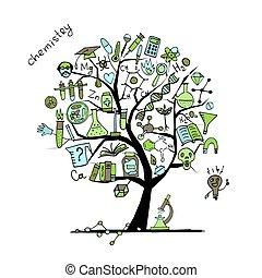 디자인, 개념, 나무, 너의, 화학