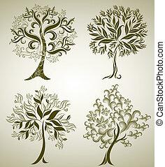디자인, 와, 장식적이다, 나무, 에서, 은 잎이 난다
