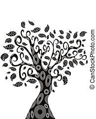디자인, 의, 나무, 실루엣
