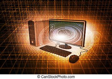 디지털 삽화, 실감나는, 탁상용 컴퓨터, 통하고 있는, 떼어내다, 기술, 배경