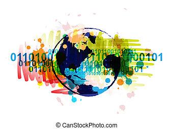디지털, 지구, 기치, 와, 예술, 배경, 디자인