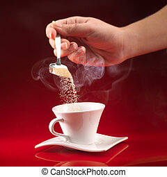 따르는 커피, 설탕, 손, 컵