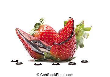 딸기, 와, 내리다, 의, 초콜릿 과자, 아물다, 백색 위에서