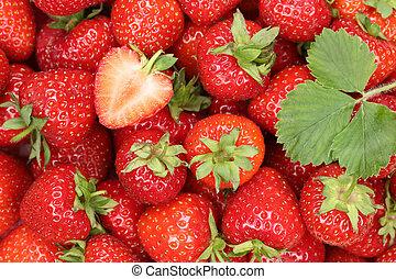 딸기, 장과, 배경, 과일