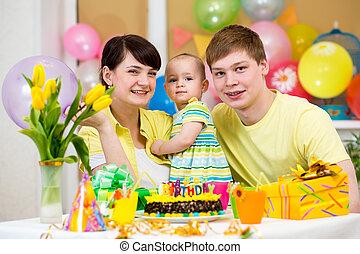 딸, 가족, 경축하는, 생일, 아기, 처음