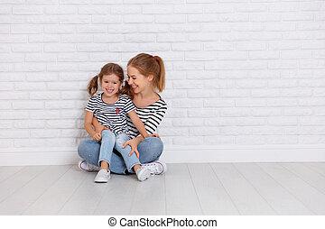 딸, 가족, 벽, 어머니, 아이, 빈 광주리, 행복하다