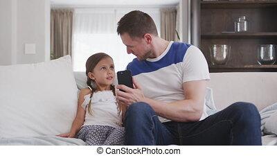 딸, 지출, 함께, 시간, 아버지