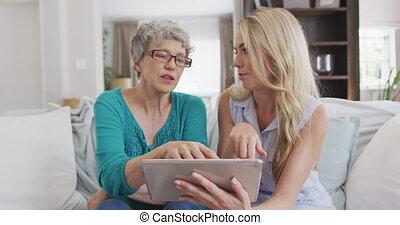 딸, 지출, 함께, 시간, 어머니