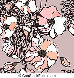 떼어내다, 꽃, 배경., seamless, 패턴