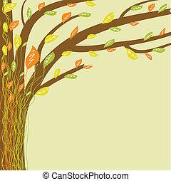 떼어내다, 나무, 삽화, 색, 벡터, life., 부드러운 물건