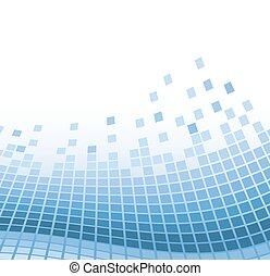떼어내다, 모자이크, 배경, 와, 파랑, 떨리는, particles., 벡터, 삽화