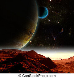 떼어내다, 배경, 의, 깊다, space., 에서, 그만큼, 멀리, 미래, travel., 새로운, 기술, 와..., resources.