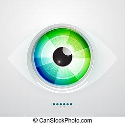 떼어내다, 벡터, 삽화, techno, eye.