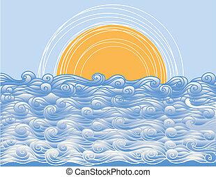 떼어내다, 삽화, 벡터, 조경술을 써서 녹화하다, 바다, waves.