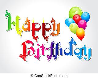 떼어내다, 생일, balloon, 카드, 행복하다
